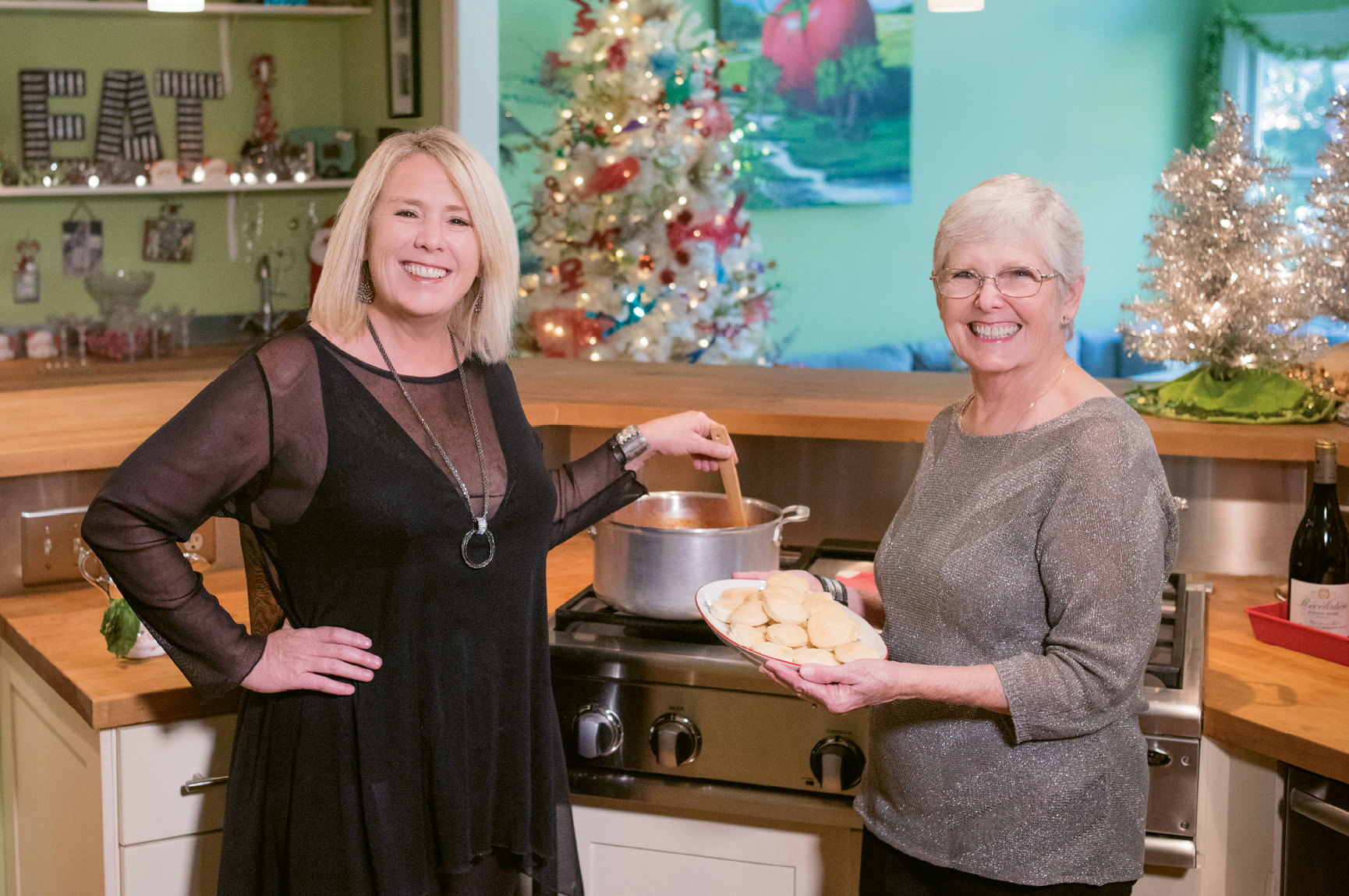 Mary Austin and her mother, Carole, prepare creamy tomato bisque and biscuits to serve with a lemony Greek chicken soup