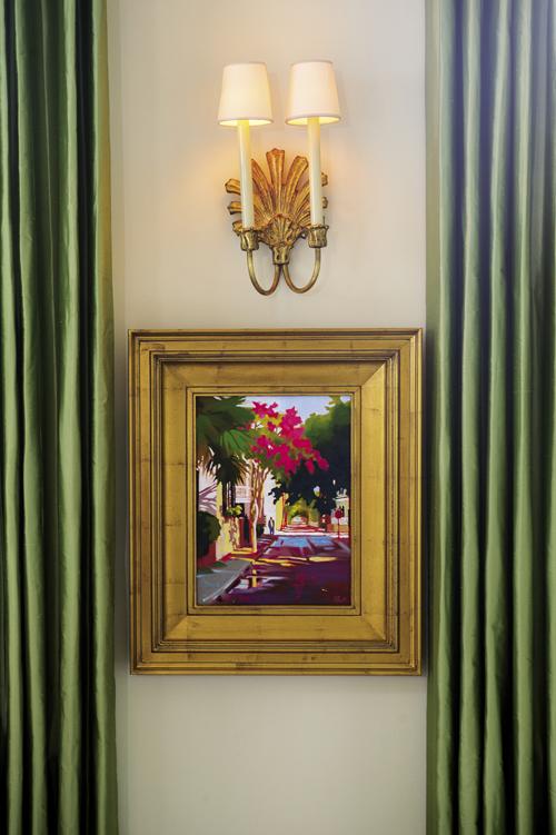 A painting by Rhett Thurman captures springtime in the nearby Ansonborough neighborhood.