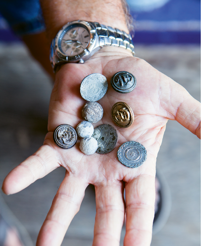 The late relic hunter David Bethel unearthed buttons, musket balls, and pieces of eight from the Abacos' Colonial days
