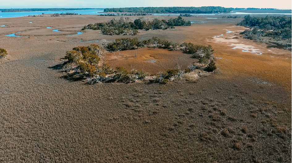 An aerial view of Fig Island near Botany Bay; archaeologists have studied and mapped its shell rings, which are carbon dated to some 4,000 years and contain shells and animal bones discarded by early inhabitants.<br />