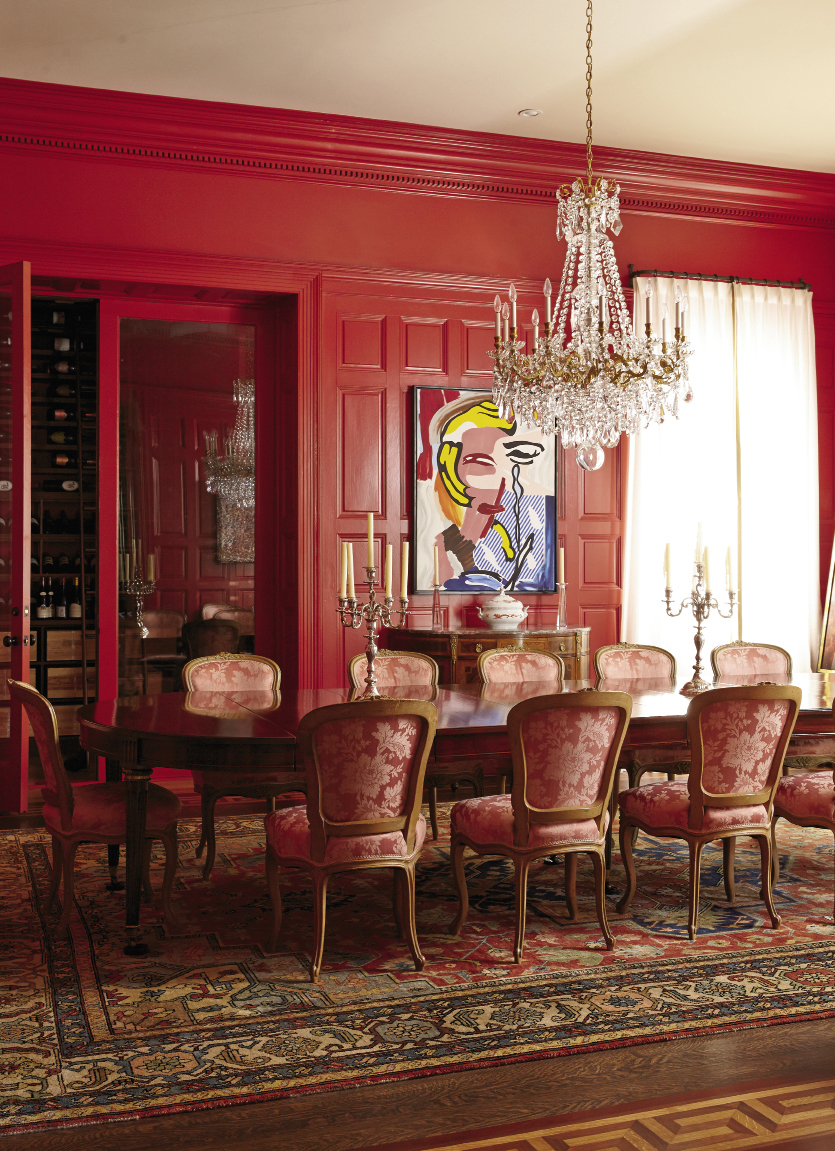 French antiques juxtaposed with modern art add global flavor to the Italianate residence.