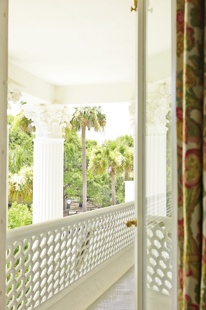 "The ironwork screen on the second-floor balcony was repaired and restored, The columns required major repairs as well. The ornate capitals, which were ""crumbling to the touch,"" according to architect Eddie Fava, were reproduced with traditional methods and plaster to match the originals."