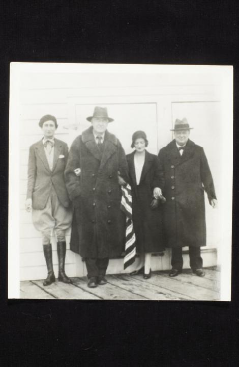 Belle with her father, Bernard, and their guests—Diana Churchill and her famous father, Winston—during a 1932 visit to Hobcaw Barony