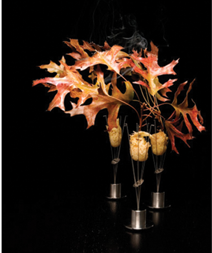 Pheasant served with burning oak leaves at Alinea