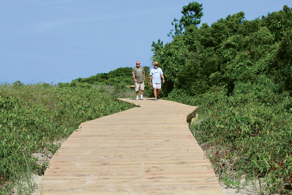 Follow the Sullivan's Island Nature Trail through maritime forest and along sunny boardwalks ...