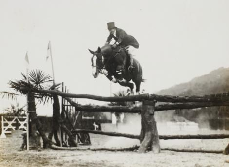 Jumping her Anglo-Arabian Souriant ⁄⁄/ during a 1931 competition in Italy; the German cavalry team would later offer to purchase the prized horse for Hitler. Belle flatly refused.