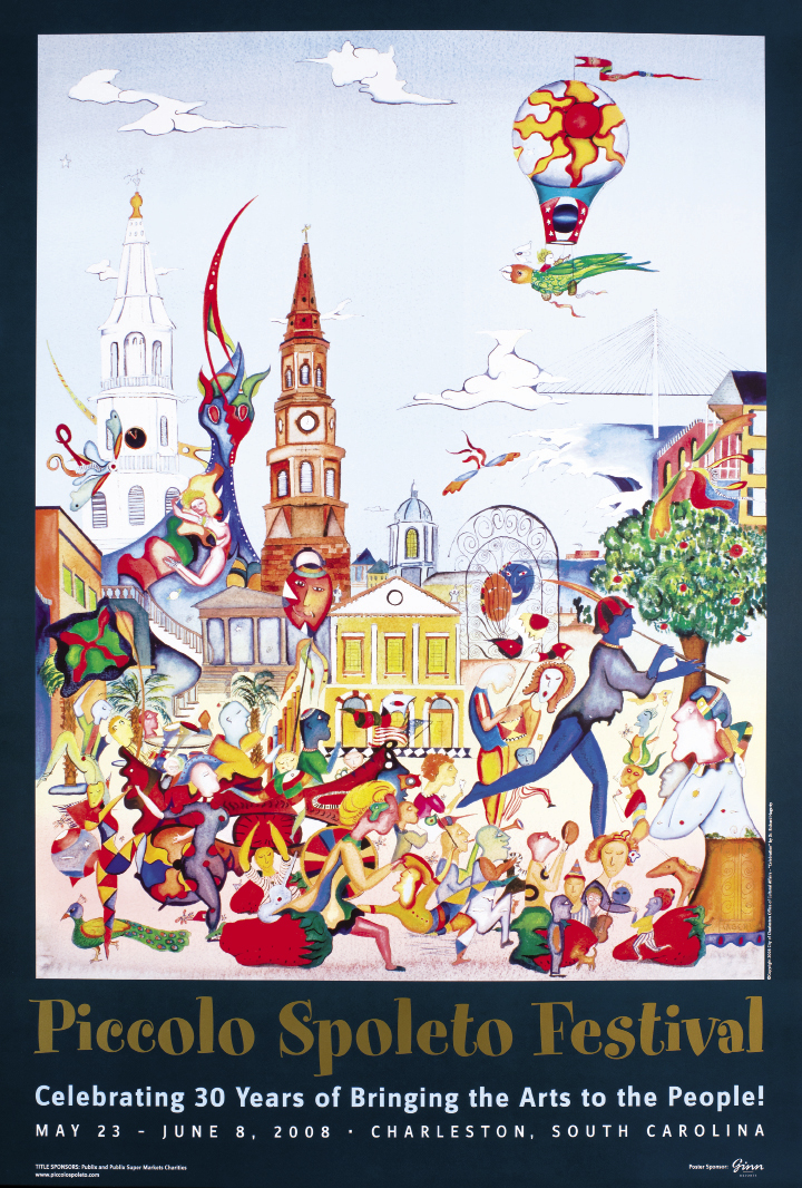 Hagerty's work has graced Piccolo Spoleto posters five times over, including the 1990 triptych titled Hurricane Hugo, as well as a poster for the Sophia Institute's Mosaics of Mary event in 2003.