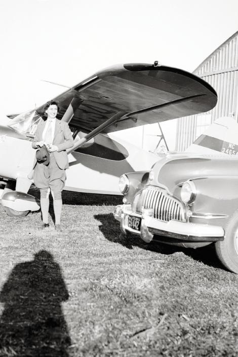 Belle at her airport hangar in Georgetown, South Carolina, in 1942; the U.S. Army commandeered it and her planes during World War