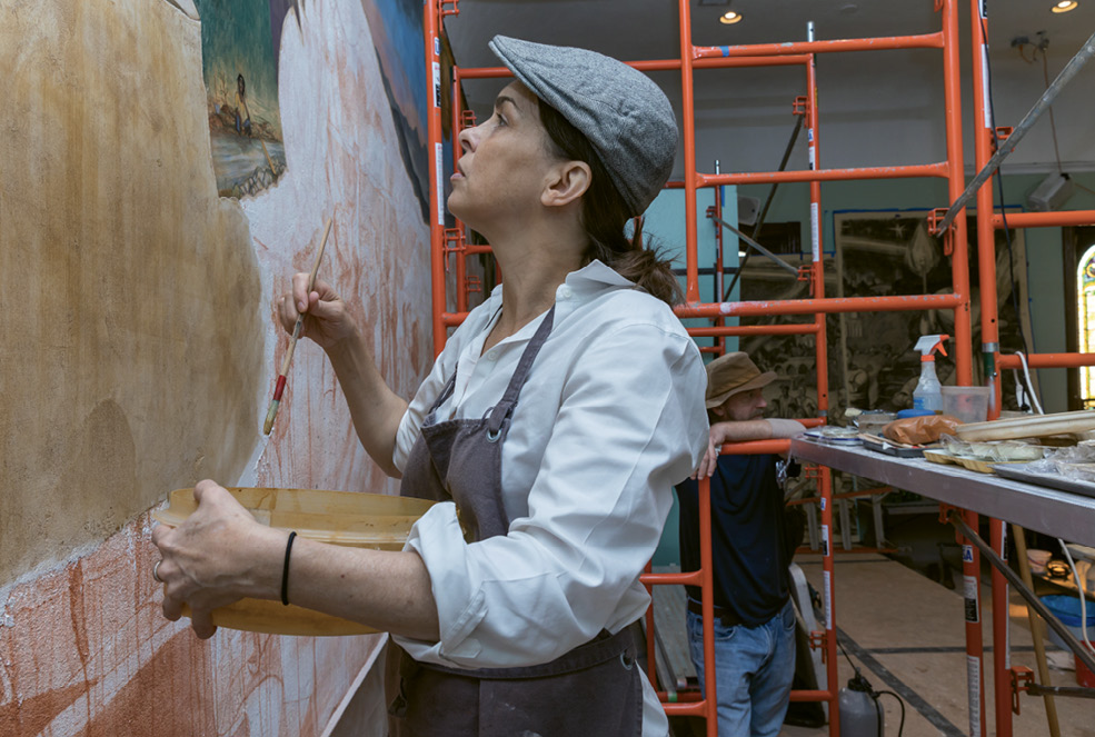 Hooper at work on the fresco