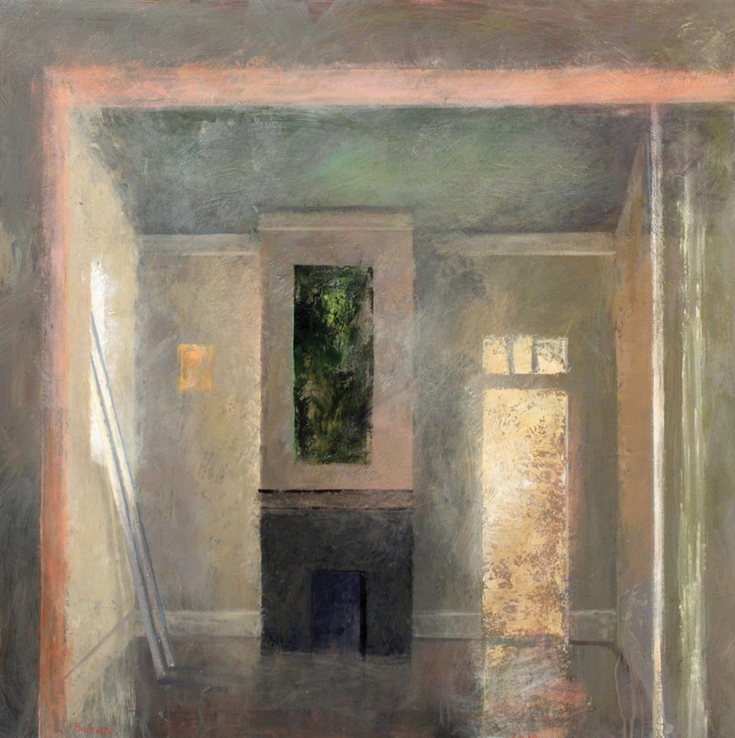 Mythic Realm (acrylic on birch panel, 40 x 40 inches, 2018)