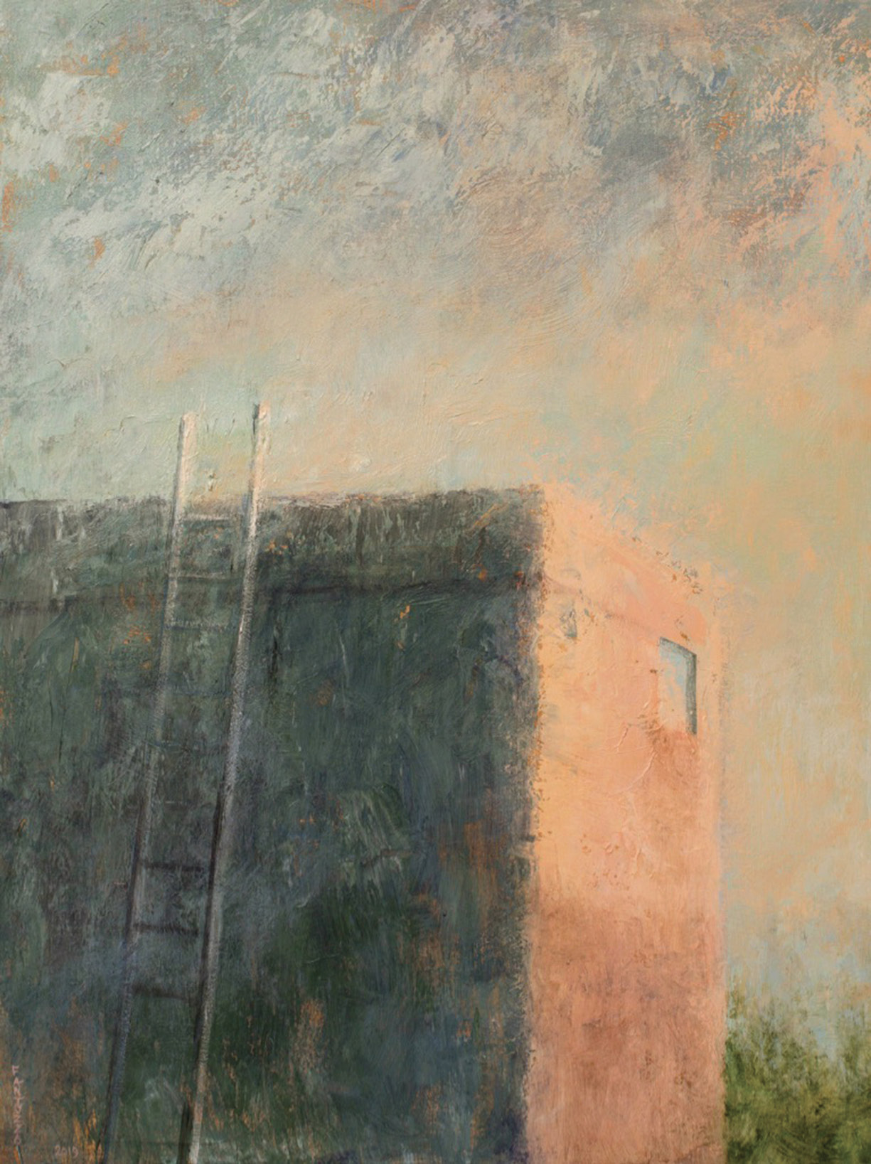 "Darkness to Light (acrylic on linen, 40 x 30 inches, 2019) explore the play of light and motifs that ""find ways in or ways out,"" the artist says."