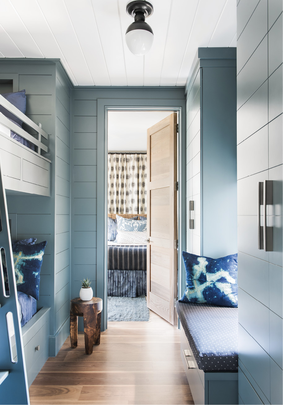 """Custom bunk beds by William C. Pritchard Co., painted in Farrow & Ball's """"Inchyra Blue."""""""