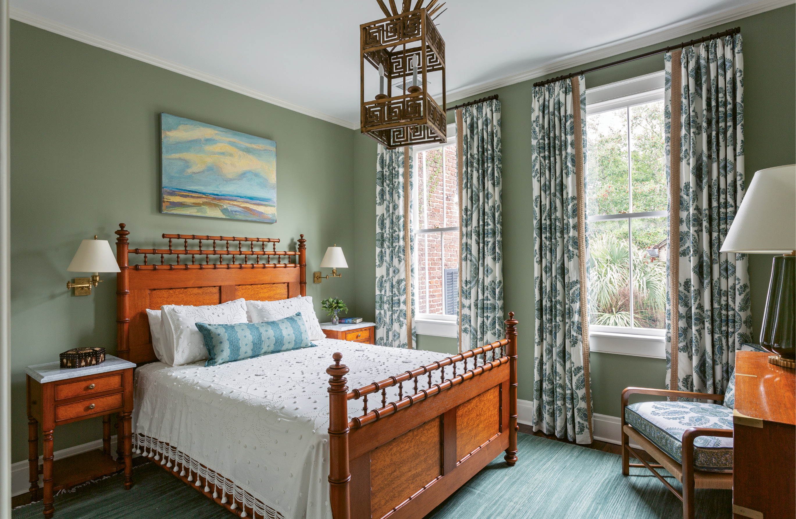"""CURTAIN CALL: Playful patterns set the tone in the guest rooms with bohemian Peter Dunham Textiles """"Samarkand"""" curtains."""