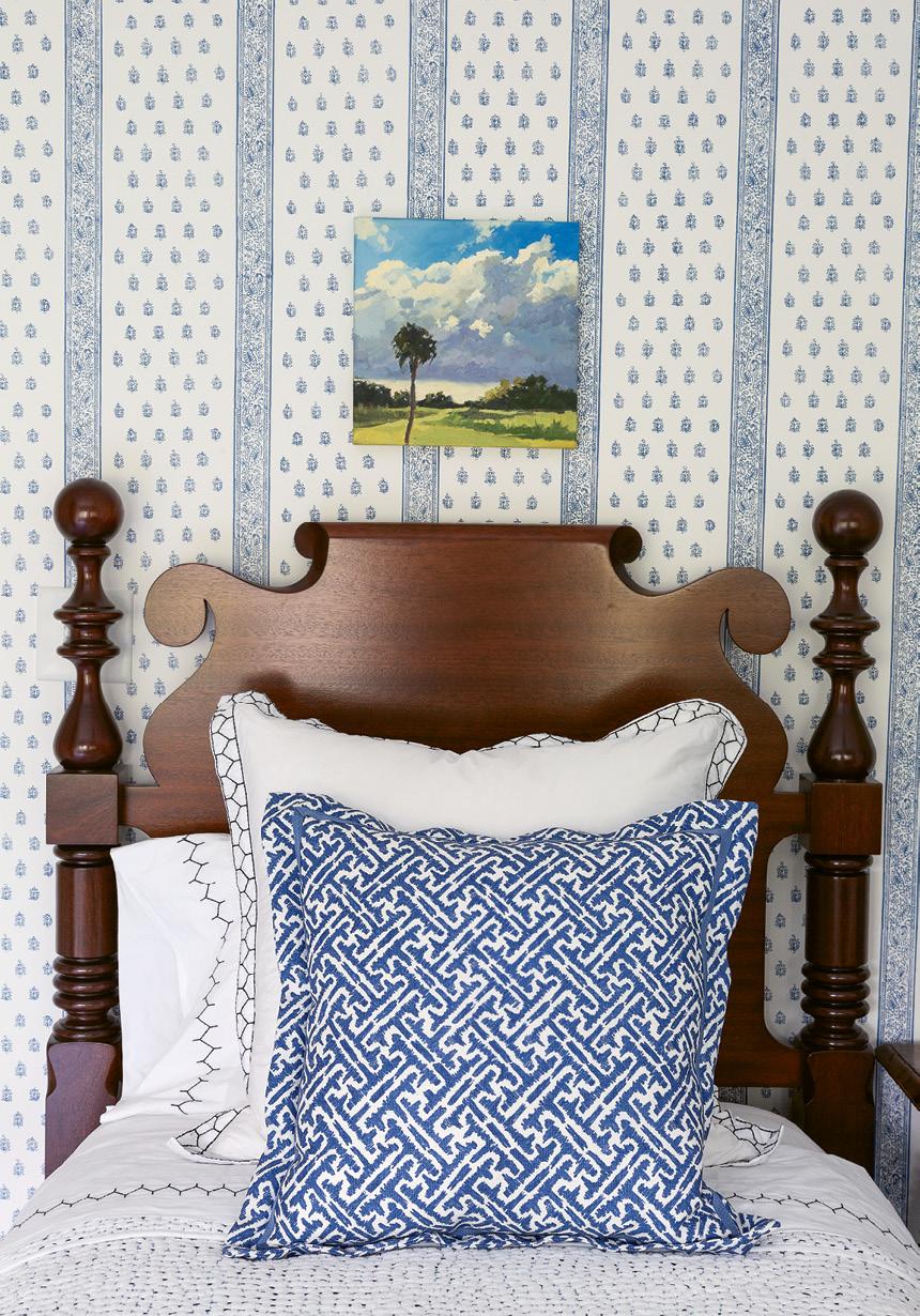"Schumacher's ""Katsura Stripe"" wallpaper in ""Delft"""
