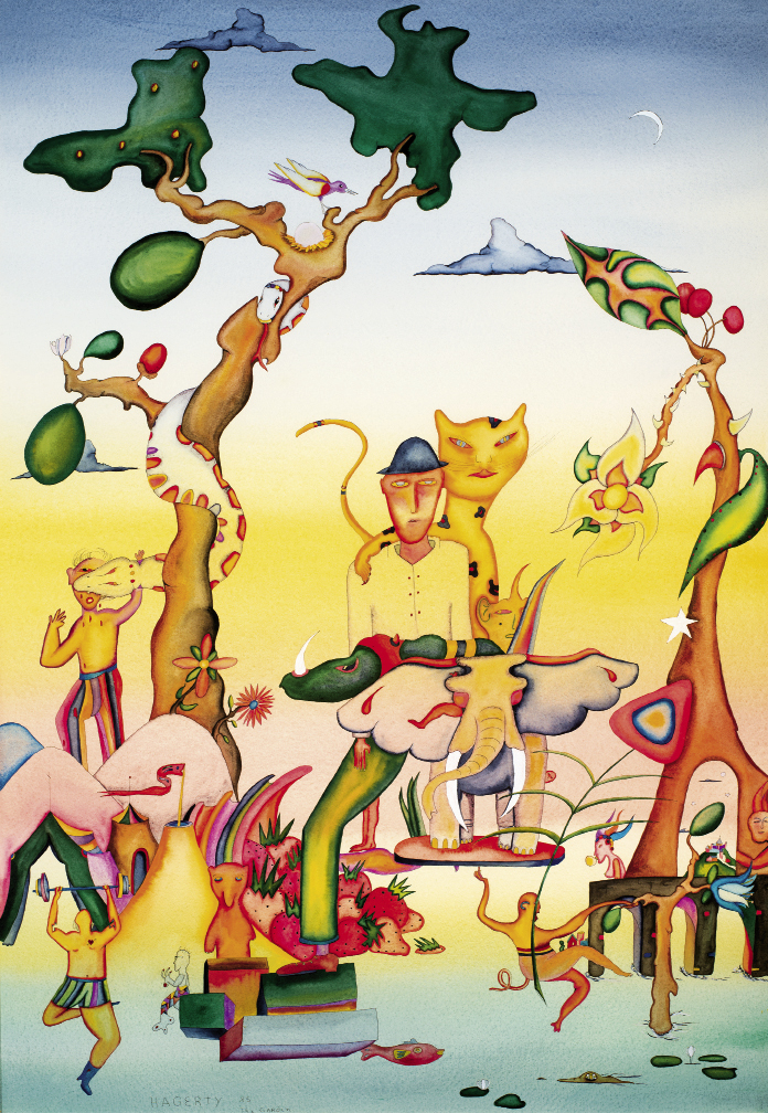 The Garden (1985, watercolor on paper, 37 x 24 inches)