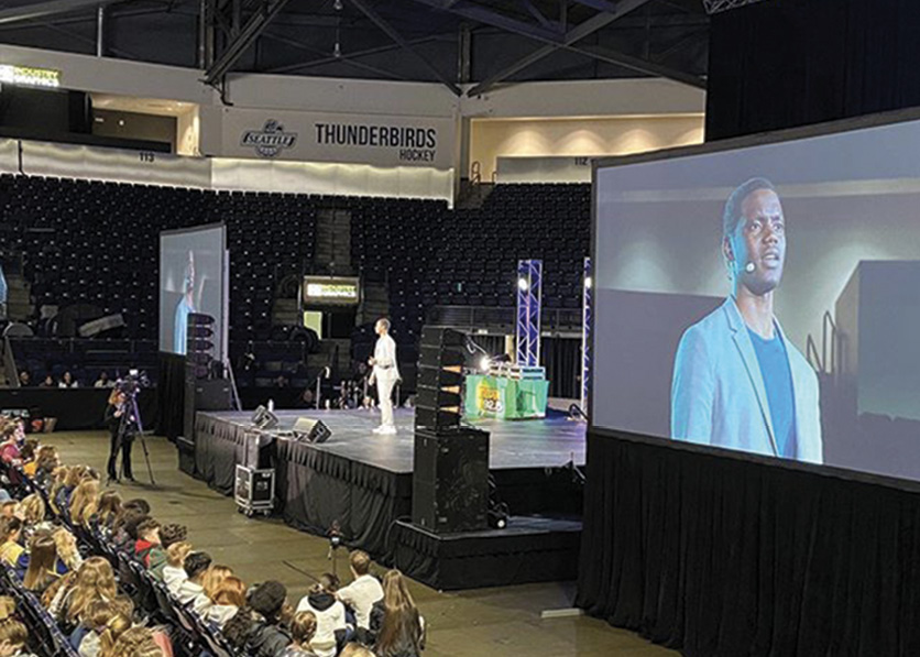 Addressing a crowd of 4,000 at a Seattle arena in March 2020.