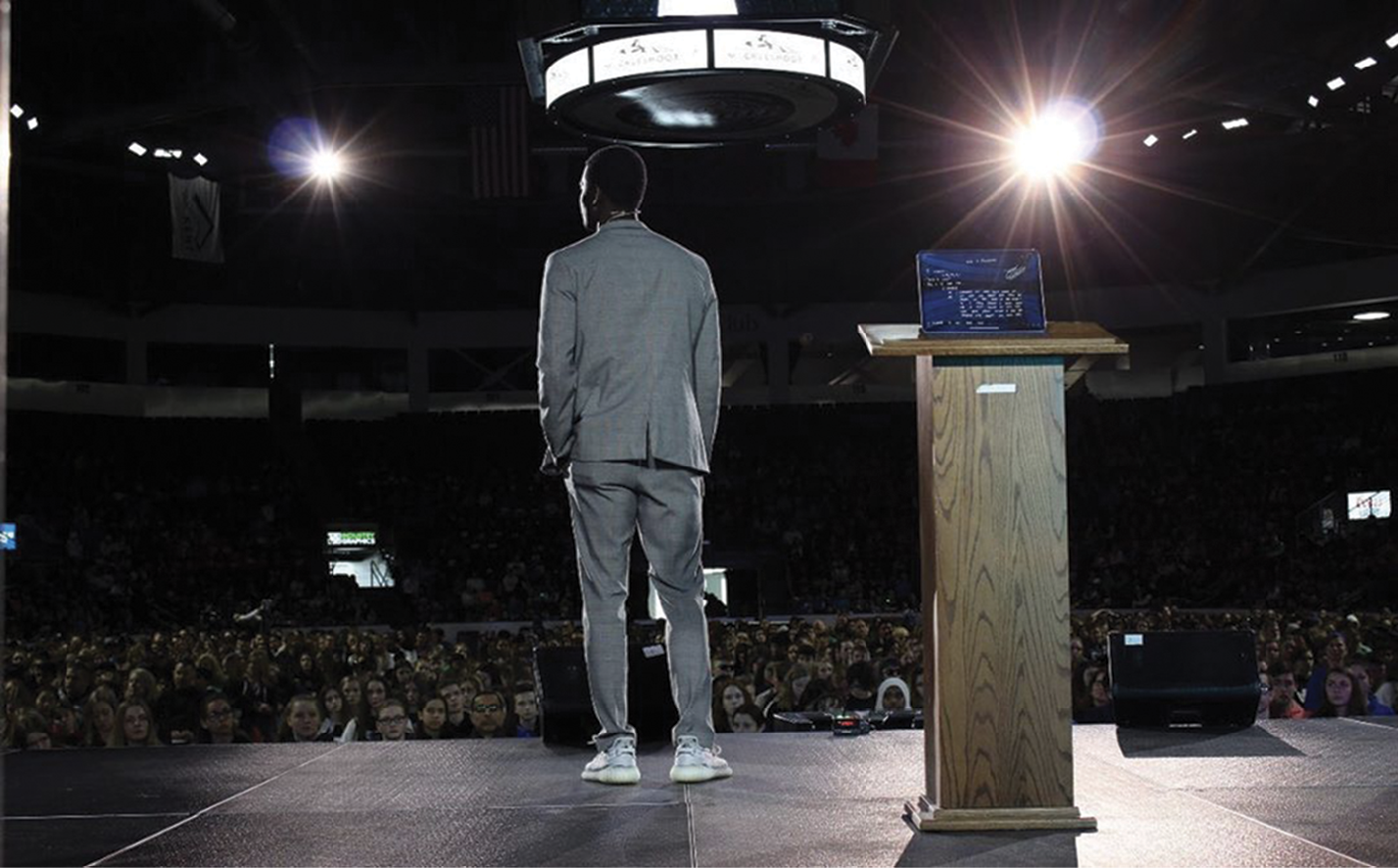 """Speaking to a school assembly, where Chris continues to share the message that """"love is always stronger than hate."""""""