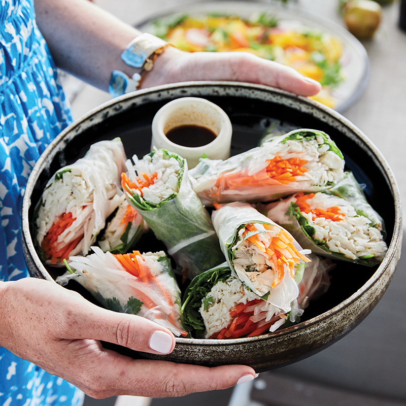 Blue crab summer rolls with sweet-and-spicy dipping sauce, needn't be complicated when leaning on high-quality, fresh ingredients.