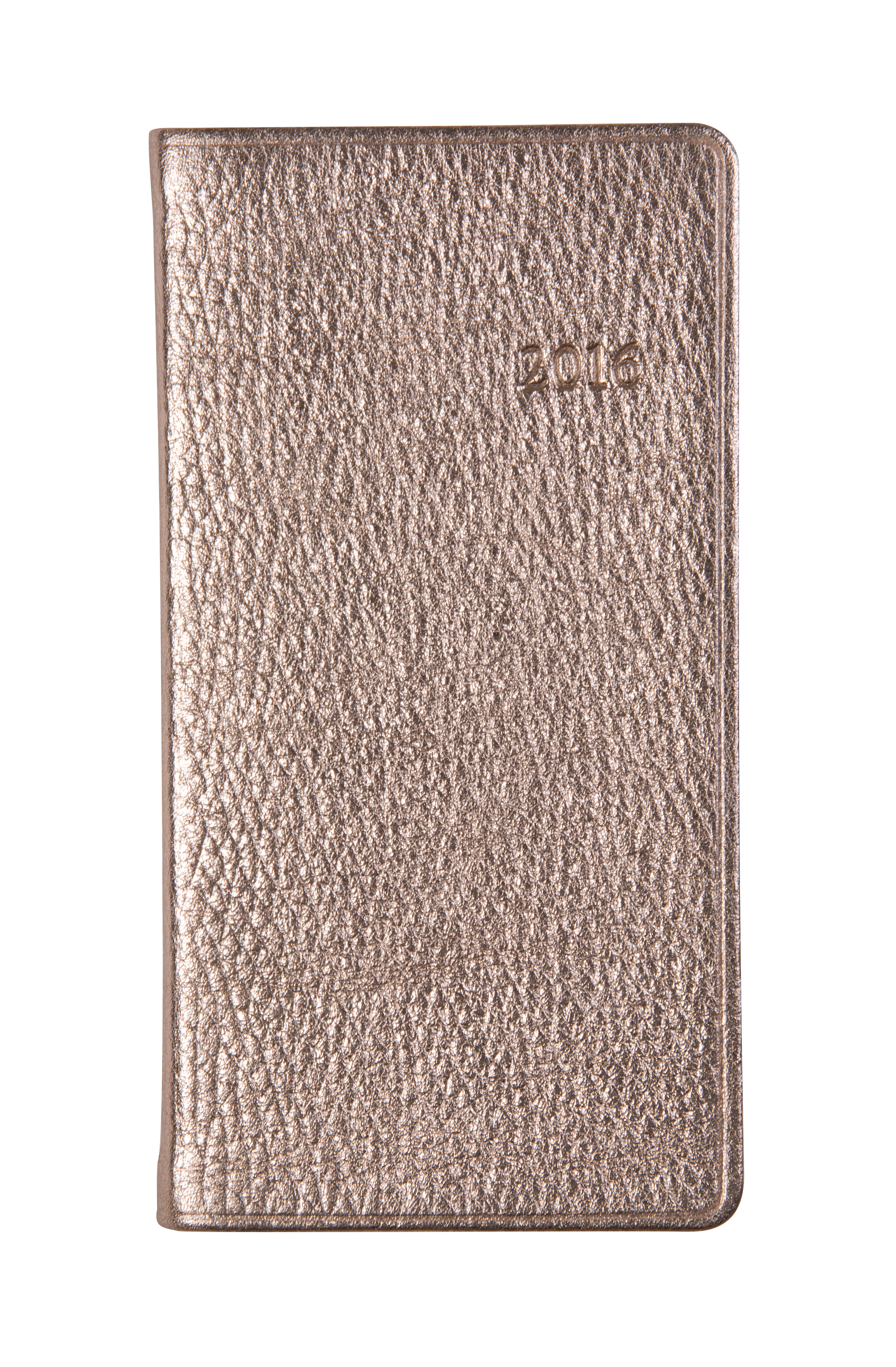 "Graphic Image six-inch ""Pocket Datebook"" in ""Rose Gold"" leather, $40 at Mac & Murphy"