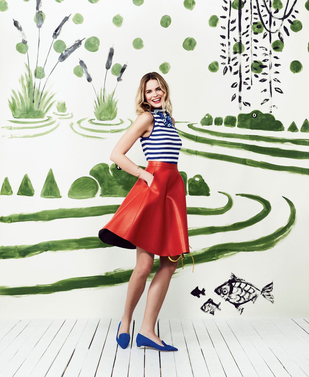 "Milly striped high-neck tank, $195 at Gwynn's of Mount Pleasant; MSGM eco leather A-line skirt, $400 at Hampden Clothing; Clotilde Silva blue beaded floral bib necklace, $128 at Hidden Countship; and Rupert Sanderson ""Jocose"" suede flats, $575 at Hampden Clothing"