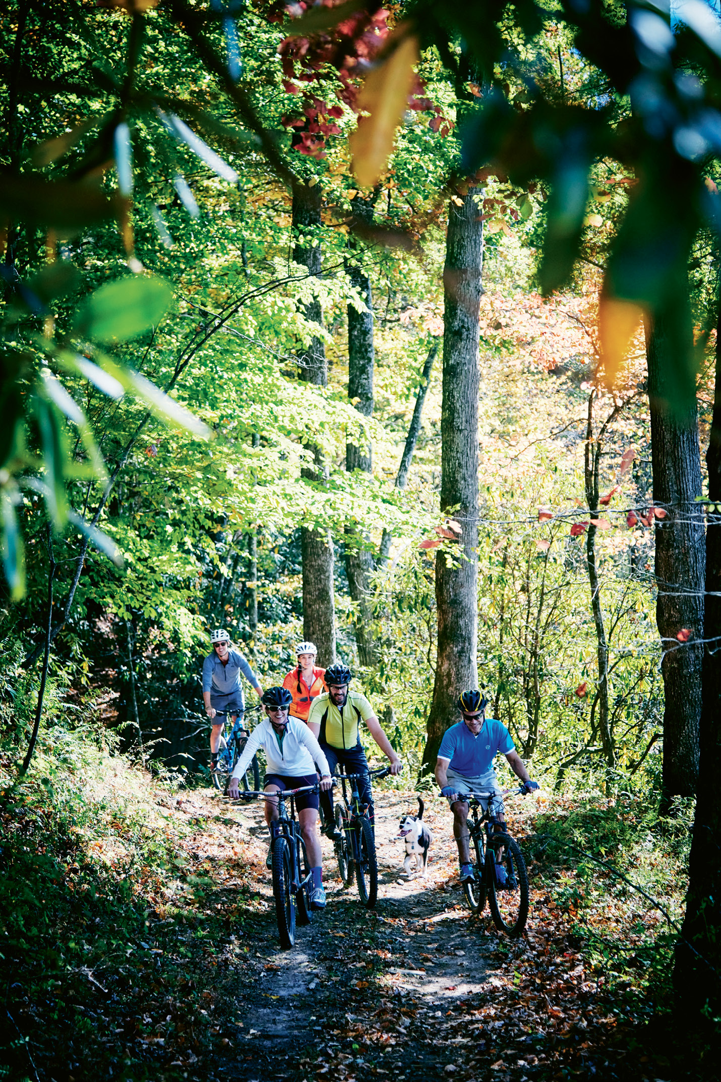 Fat Tire Fun: Stephanie and Noel Hunt—along with Charleston friends John Duckworth (and dog Rosie), Gloria Wilson, and Robert Prioleau—pedal along the trails at REEB Ranch, which lead to a broader trail network at DuPont State Forest.