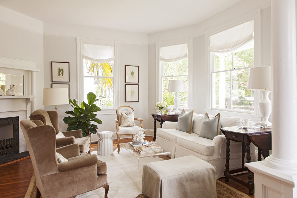 Work It: The formal parlor leads to a home office (next image)