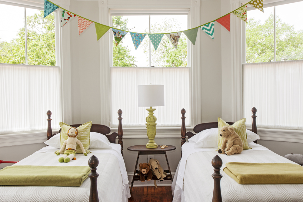Hand-sewn bunting serves as decor In four-year-old Xander's room.