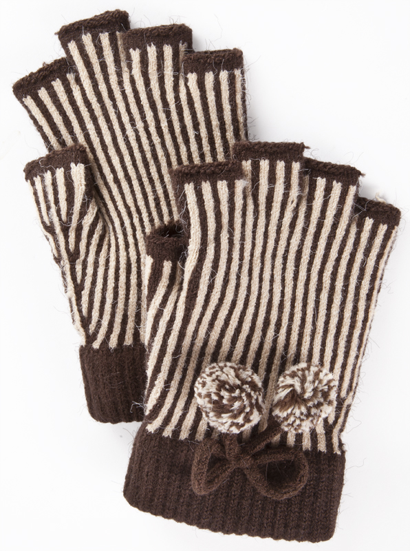 Mademoiselle striped fingerless gloves, $24 at Mary Mojo