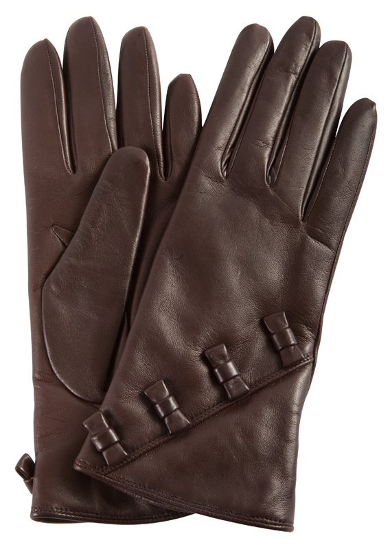 Portolano leather gloves with bows, $90 at Rapport