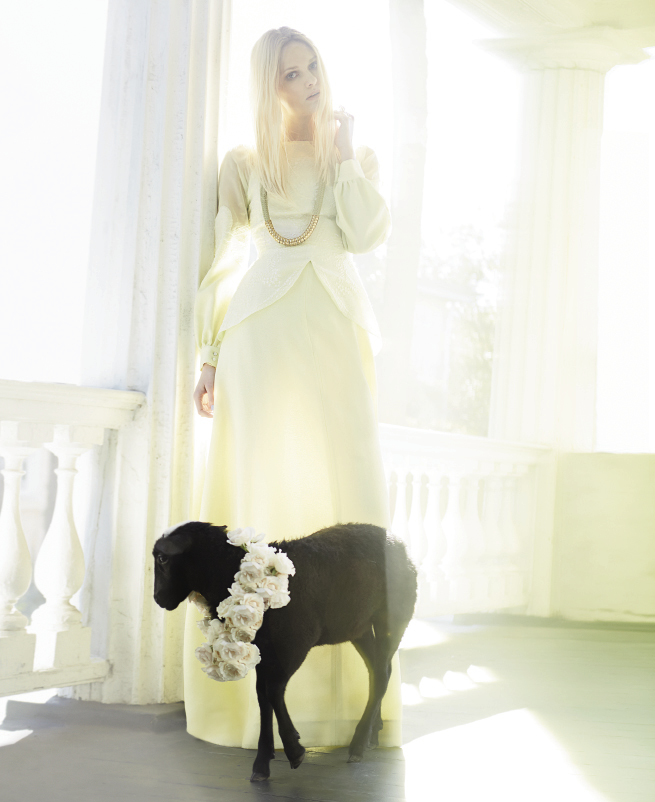 OUT LIKE A LAMB: Honor gazar gown, $3,500 at honornyc.com; Host + Lee mixed-metal rope necklace, $195 at Cynthia Rowley