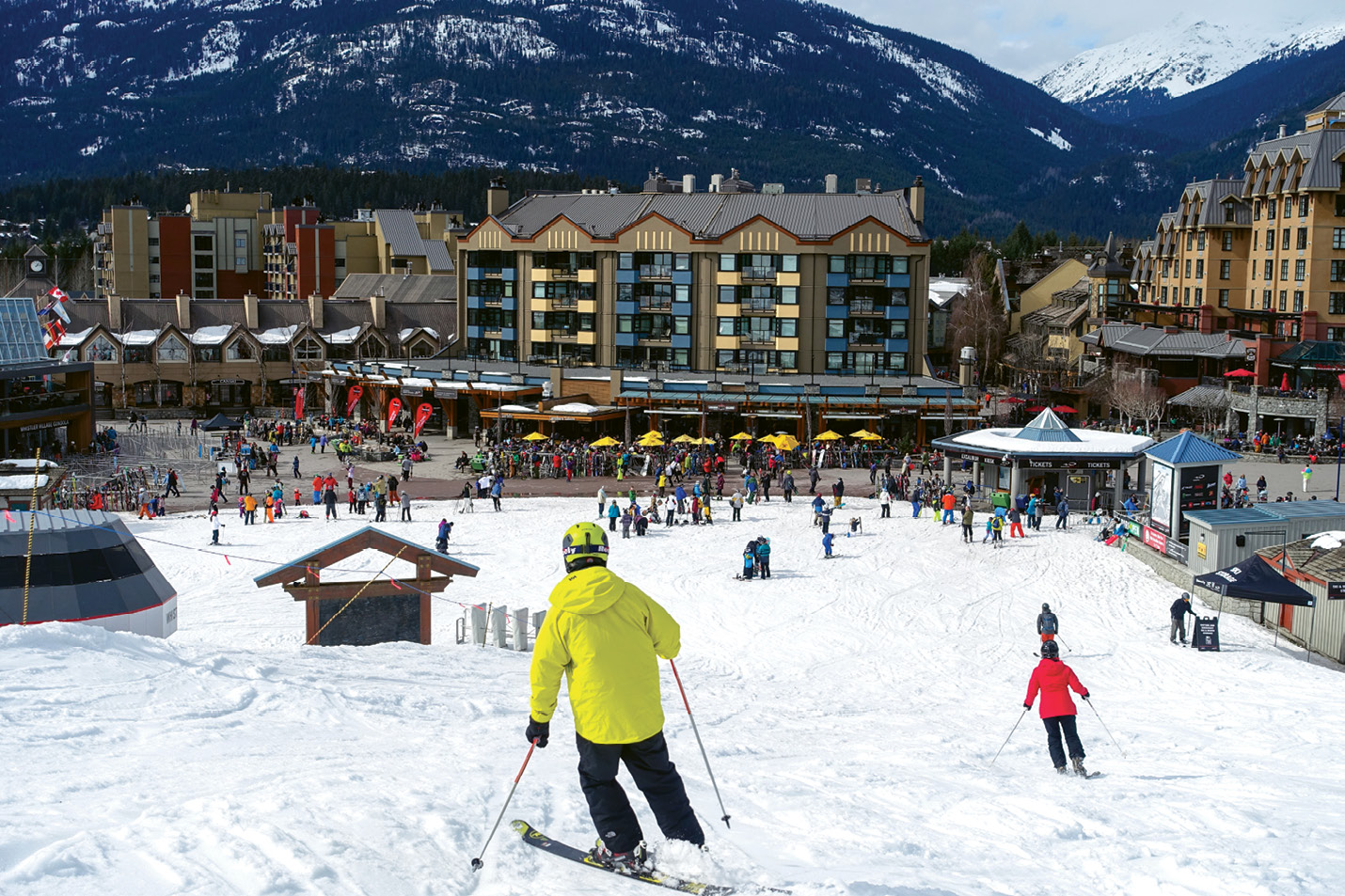 ...to the base village with its dozens of restaurants and après-ski bars in walking distance of the ski-in town center.