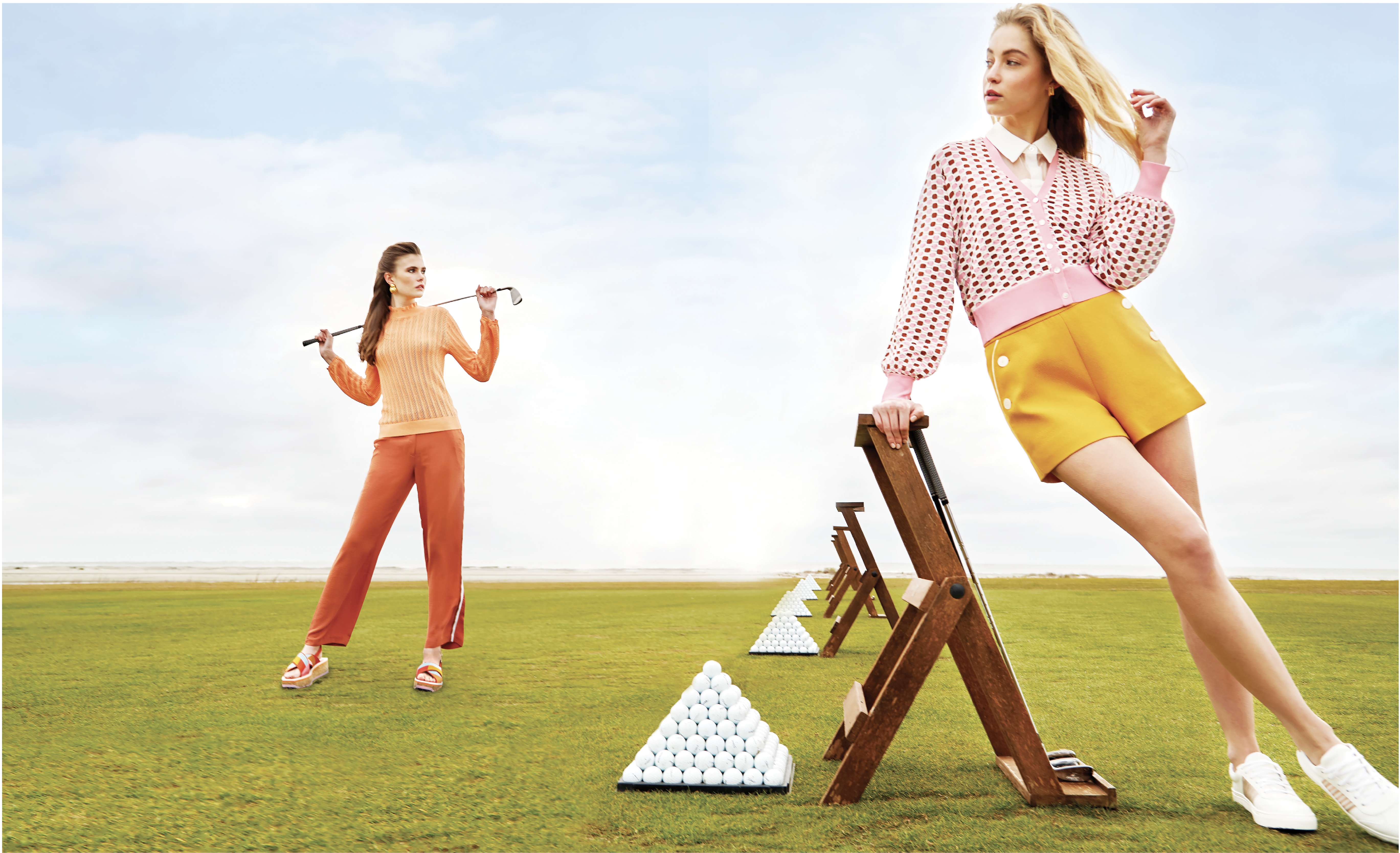 "Practice Round: (On Sara, left) J.Crew pointelle sweater, $80 at J.Crew; See U Soon side stripe pant in ""brick,"" $86 at Out of Hand; Kenneth Jay Lane shell earrings, $90 at Croghan's Jewel Box; Robert Clergerie ""Urga"" cross platform sandals, $695 at Gwynn's of Mount Pleasant; (on Maddie, right) ""Sheer Details"" blouse, $84 at Maris DeHart; Veronica Beard ""Loraine"" cardigan, $395 at Gwynn's of Mount Pleasant; J.Crew ""Sailor"" short in ""Bronzed Ochre,"" $118 at J.Crew; enewton ""Dignity Split Stud"" earrings, $48 at Woodhouse Day Spa; Kaanas ""Amsterdam Rose"" sneakers, $148 at Sapphire Boutique"