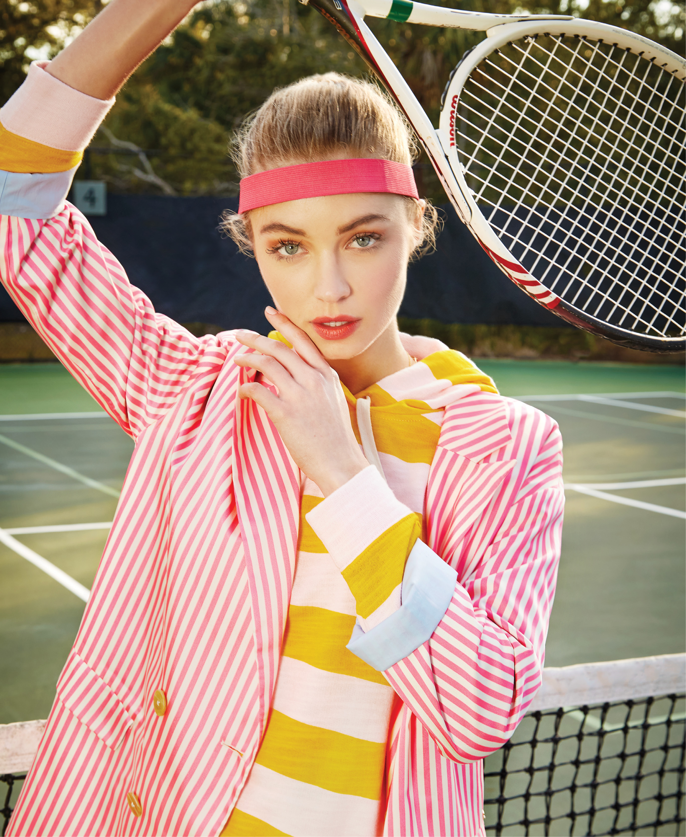 "Grand Slam: Scotch & Soda oversized striped blazer, $198, and tailored shorts, $98, both at Scotch & Soda; J.Crew vintage cotton terry hoodie in ""Molly Stripe Pink Sun,"" $80 at J.Crew; headband, $4 at Nordstrom Rack"