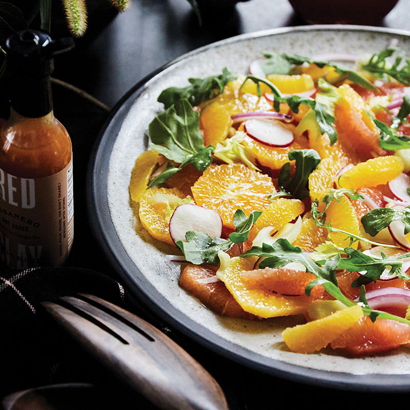 Blood oranges, grapefruits, tangelos, and a Habanero hot sauce vinaigrette deliver tang and vibrancy to the salad course.