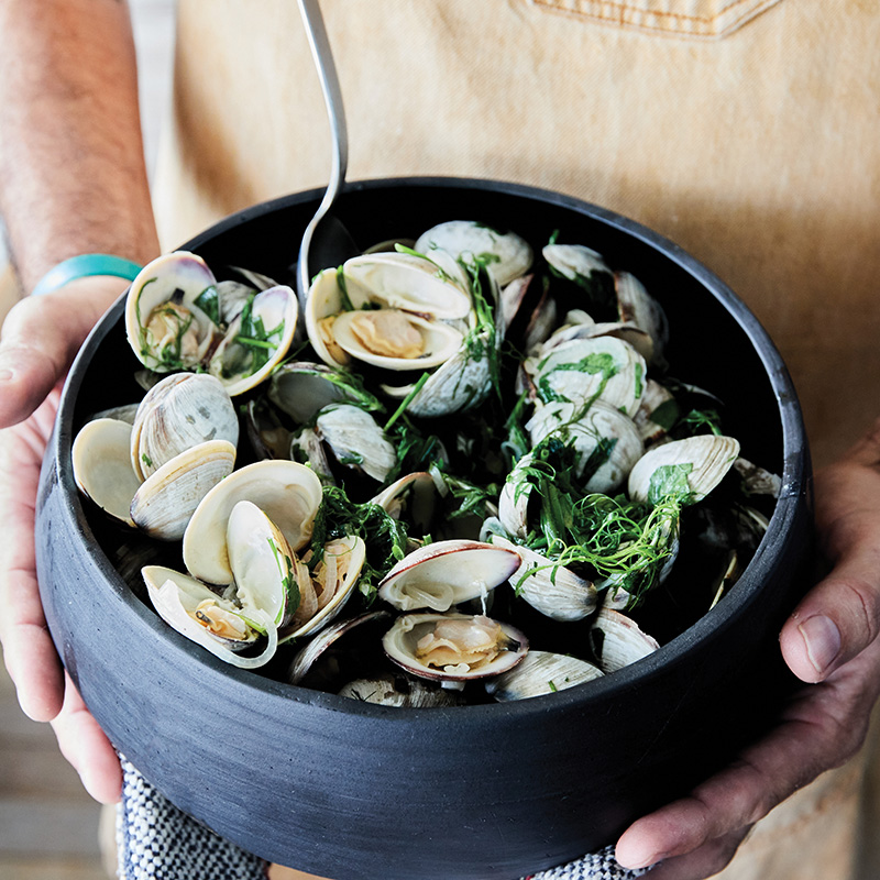 Littleneck clams from Abundant Seafood served with Red Clay's bright and zingy Verde sauce