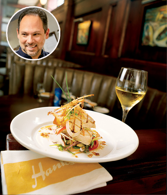 "UPSCALE SEAFOOD: Hank's Seafood; ""It's a great place to enjoy seafood at its finest,"" says Circa 1886 chef Marc Collins (inset)"