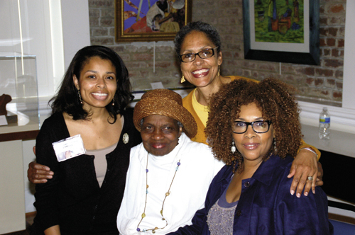 The Geechee Girl herself, Vertamae Smart-Grosvenor, (center) with Kristen Hanna, Dr. Helen Hanna, and Dash at the Avery Research Center in 2012.