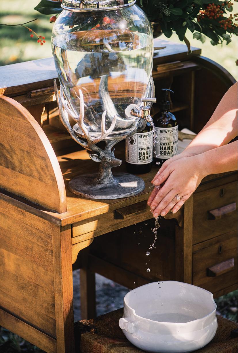 A beverage dispenser becomes a handwashing station.