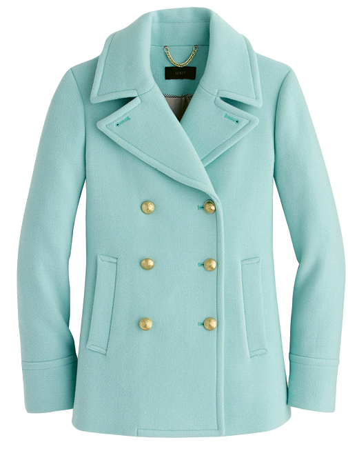 "J.Crew's ""Majesty Peacoat"" in ""soft mint"""