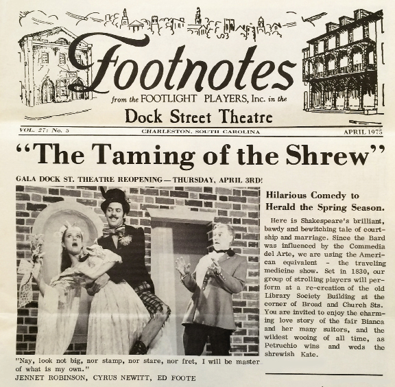 Jennet on stage in The Taming of the Shrew for the re-opening of the Dock Street Theatre