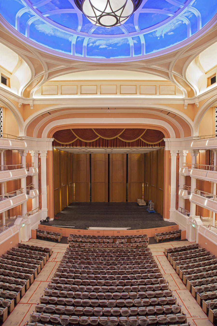 The Performance Hall was designed by world-renowned David M. Schwartz Architects of Washington, D.C., with acoustical engineering by Akustiks, LLC, and theater consultation by Fisher Dachs Associates of New York.