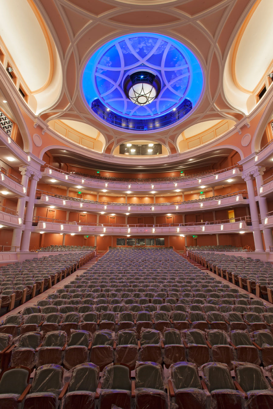 The neoclassical Gaillard Center and its centerpiece Performance Hall are modeled after the great European concert halls, with an orchestra level surrounded by three balcony tiers.