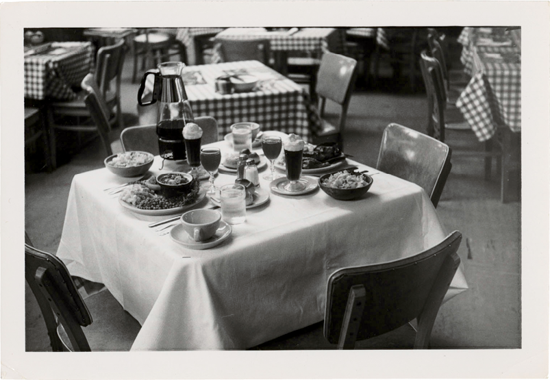 A table set for a midday dinner in the balcony restaurant