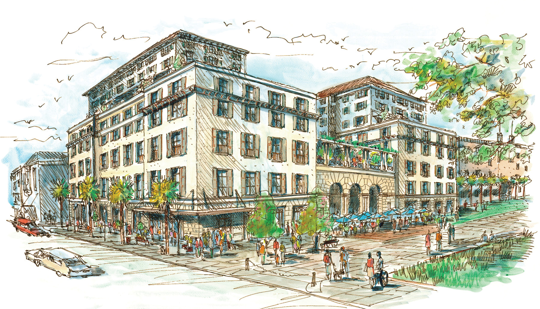 The luxury property will offer 179 guest quarters, two restaurants, three bars, a spa, a ballroom, and meeting spaces.
