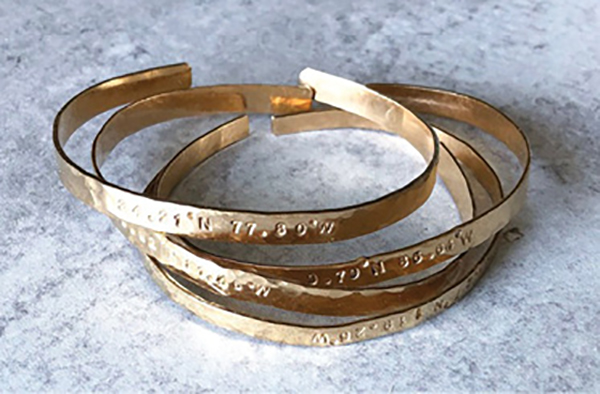 """Special Stack: """"A few years ago, I started having Dee Ruel Jewelry make me bracelets with the coordinates of special places I love to visit. Every time I wear them, I feel connected to the memories."""""""