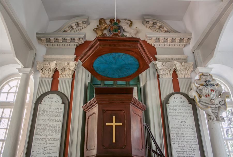 """St. James' Goose Creek: A wooden canopy known as the """"sounding board"""" tops the pulpit to help project the minister's voice."""