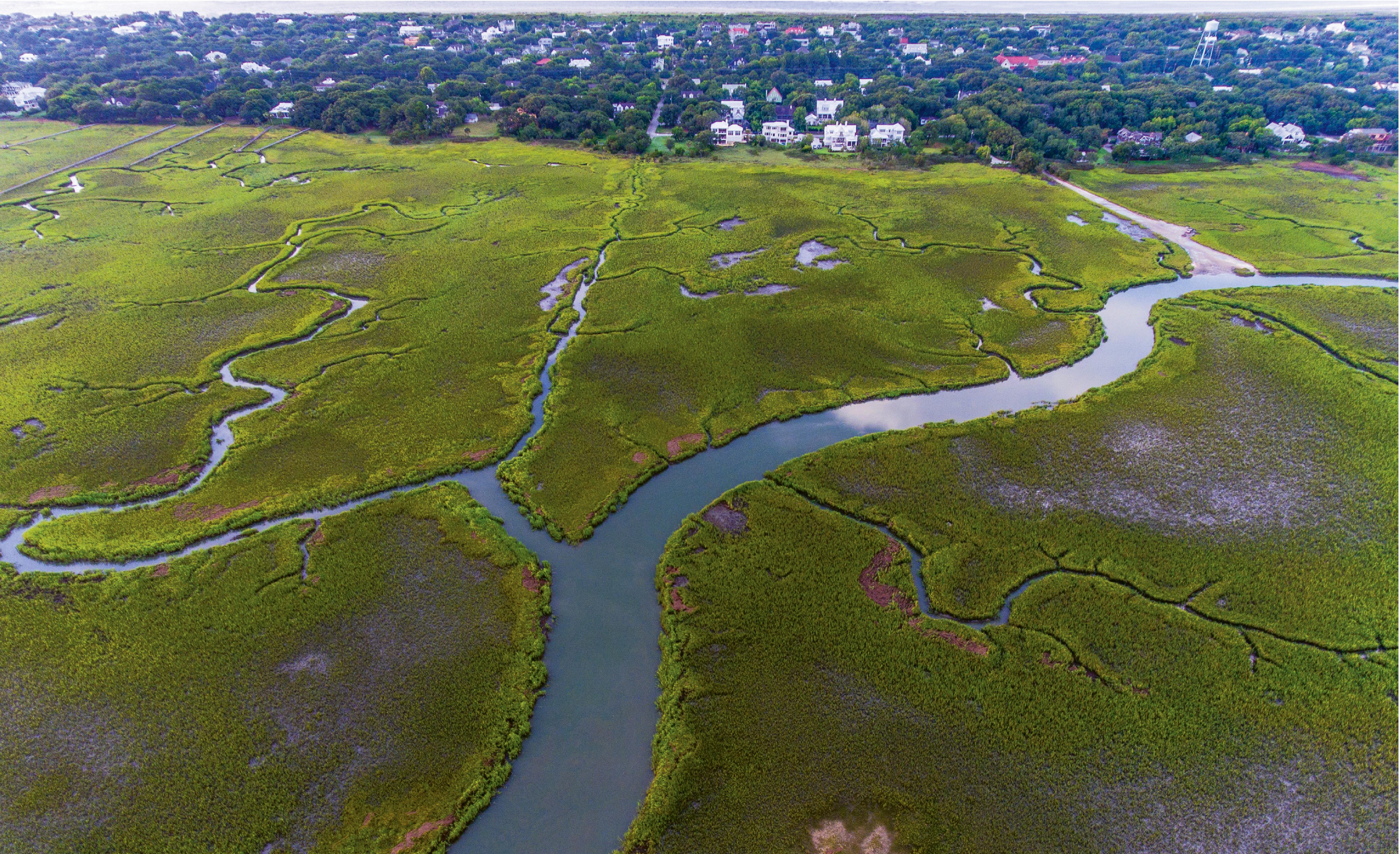 """""""Summer Creeks"""" {Altitude: 250 feet}  Intracoastal marsh creeks near Station 26 1/2 on Sullivan's Island"""
