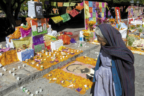 An elderly woman admires one of the displays made of seeds to recognize lost relatives and historical figures.