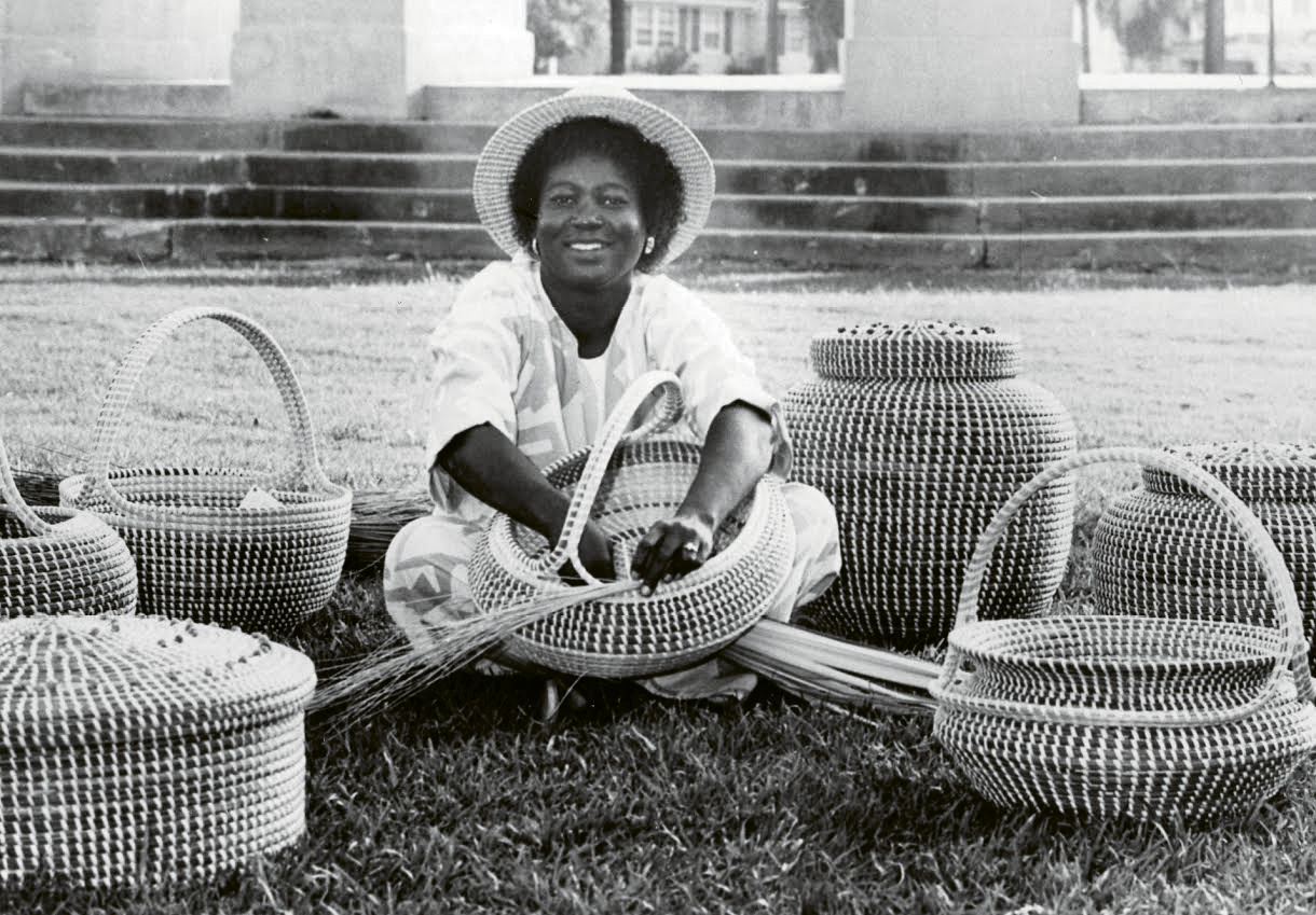 Take Off: Mary Jackson, pictured in 1984 with baskets headed for the collection at the Charleston International Airport; it proved to be a pivotal year in her career, as the Gibbes Museum of Art hosted a solo show of her work and she exhibited her baskets at the highly selective Smithsonian Craft Show.