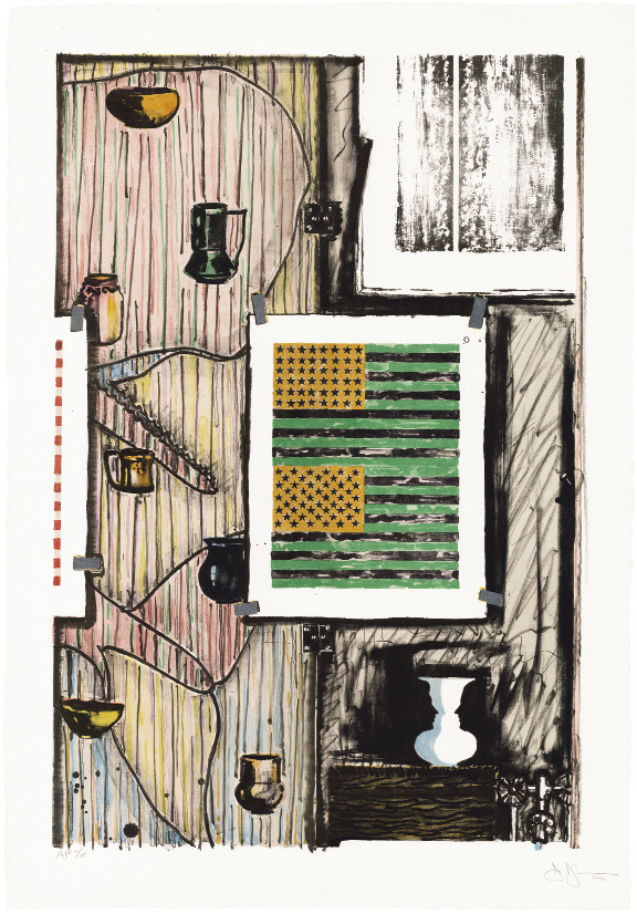 Ventriloquist by Jasper Johns, 1986, lithograph in 11 colors, 41 1/2 x 29 inches, Edition 69, published by Universal Limited Art Editions
